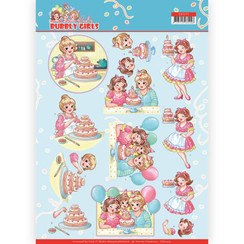 CD11477 - 10 stuks knipvellen - Yvonne Creations - Bubbly Girls - Party - Baking
