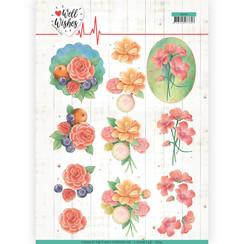 CD11461 - 10 stuks knipvellen - Jeanines Art- Well Wishes - A Bunch of Flowers
