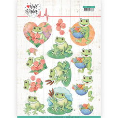 CD11459 - 10 stuks knipvellen - Jeanines Art- Well Wishes - Frogs