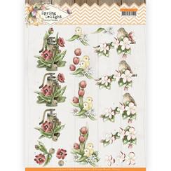 CD11433 - 10 stuks knipvellen - Precious Marieke - Spring Delight - Red Flowers