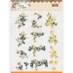 CD11434 - 10 stuks knipvellen - Precious Marieke - Spring Delight - Violets and Daffodils