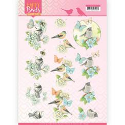 CD11321 - 10 stuks knipvellen - Jeanines Art- Happy Birds - Blauwe dans