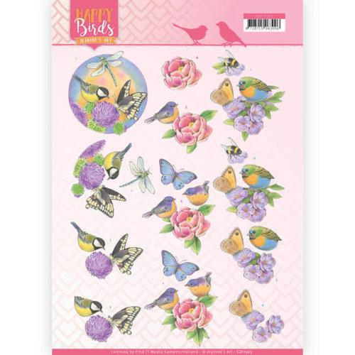 Jeanines Art CD11323 - 10 stuks knipvellen - Jeanines Art- Happy Birds - Geurende bloemen