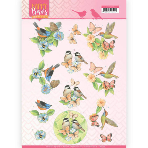 Jeanines Art CD11324 - 10 stuks knipvellen - Jeanines Art- Happy Birds - Gevederde vrienden