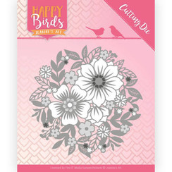 JAD10084 - Snijmal - Jeanines Art- Happy Birds - Bloemencirkel