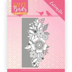 JAD10085 - Snijmal - Jeanines Art- Happy Birds - Bloemenrand