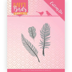 JAD10089 - Snijmal- Jeanines Art- Happy Birds - Drie veertjes