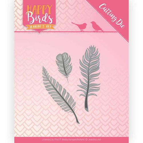 Jeanines Art JAD10089 - Snijmal- Jeanines Art- Happy Birds - Drie veertjes