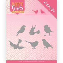 JAD10090 - Snijmal - Jeanines Art- Happy Birds - Vrolijke vogels