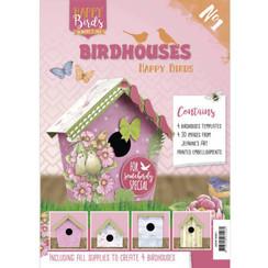 JAVH10001 - Vogelhuisjes boek 1 - Jeanines Art- Happy Birds