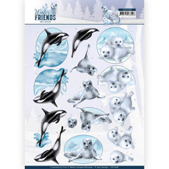 CD11408 - 10 stuks knipvellen - Amy Design - Winter Friends - Sparkling Sealife