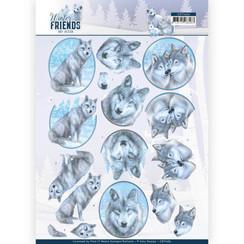 CD11406 - 10 stuks knipvellen - Amy Design - Winter Friends - Winter Wolves