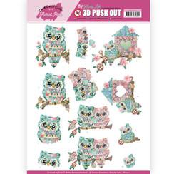 SB10411 - 3D Uitdrukvel - Yvonne Creations - Floral Pink (Kitschy Lala) - Kitschy Owls
