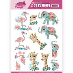 SB10410 - 3D Uitdrukvel - Yvonne Creations - Floral Pink (Kitschy Lala) - Kitschy Animals