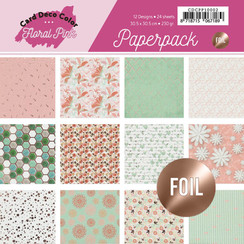 CDCPP10002 - Foiled Paperpack 30,5 x 30,5 - Yvonne Creations - Floral Pink