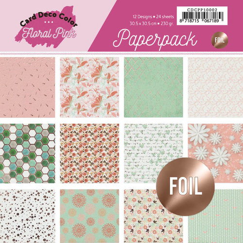 Yvonne Creations CDCPP10002 - Foiled Paperpack 30,5 x 30,5 - Yvonne Creations - Floral Pink