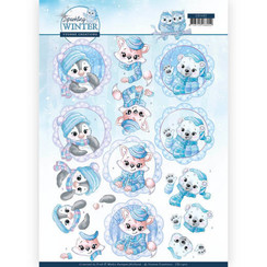 CD11402 - 10 stuks knipvellen - Yvonne Creations - Sparkling Winter - Winter Friends