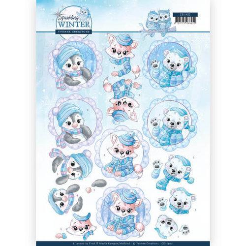 Yvonne Creations CD11402 - 10 stuks knipvellen - Yvonne Creations - Sparkling Winter - Winter Friends