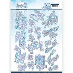 CD11403 - 10 stuks knipvellen - Yvonne Creations - Sparkling Winter - Winter Bird