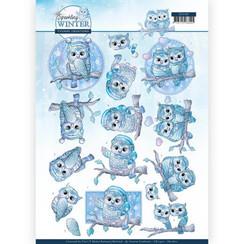 CD11401 - HJ17601 - 10 stuks knipvellen - Yvonne Creations - Sparkling Winter - Winter Owls