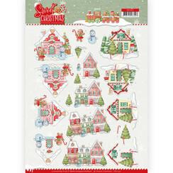 CD11371 - 10 stuks knipvellen - Yvonne Creations - Sweet Christmas - Sweet Houses