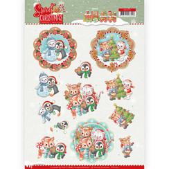 CD11374 - 10 stuks knipvellen - Yvonne Creations - Sweet Christmas - Sweet Winter Animals