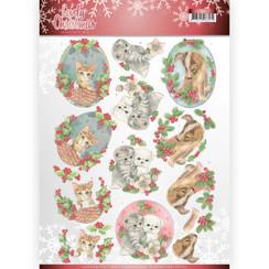CD11375 - 10 stuks knipvellen - Jeanines Art- Lovely Christmas - Lovely Christmas Pets