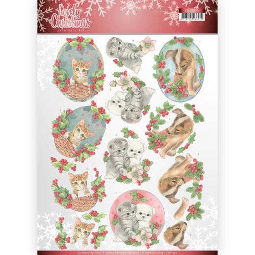 Jeanines Art CD11375 - 10 stuks knipvellen - Jeanines Art- Lovely Christmas - Lovely Christmas Pets