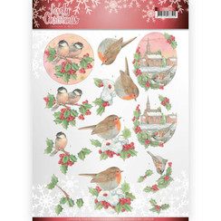 CD11378 - 10 stuks knipvellen - Jeanines Art- Lovely Christmas - Lovely Birds