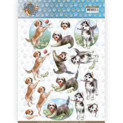 CD11365 - 10 stuks knipvellen - Amy Design - Dogs Life - Playing Dogs
