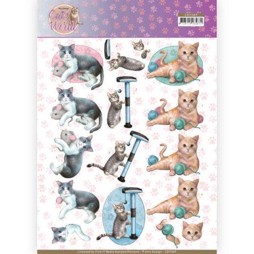 Amy Design CD11369 - 10 stuks knipvellen - Amy Design - Cats World - Playing Cats