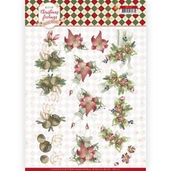 CD11317 - 10 stuks knipvellen - Precious Marieke - Warm Christmas Feelings - Red Center Pieces
