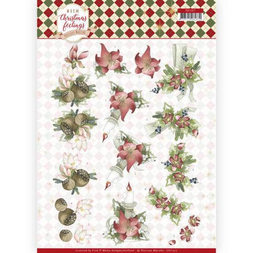 Precious Marieke CD11317 - 10 stuks knipvellen - Precious Marieke - Warm Christmas Feelings - Red Center Pieces