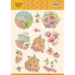 CD11338 - 10 stuks knipvellen - Jeanines Art - Buzzing Bees - Working Bees