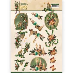 CD11357 - 10 stuks knipvellen - Amy Design - Christmas in Gold - Lanterns in Gold
