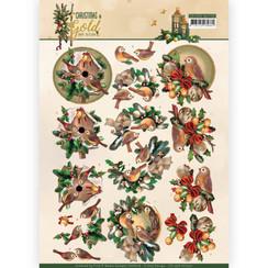 CD11358-HJ17201 - 10 stuks knipvellen - Amy Design - Christmas in Gold - Birds in Gold