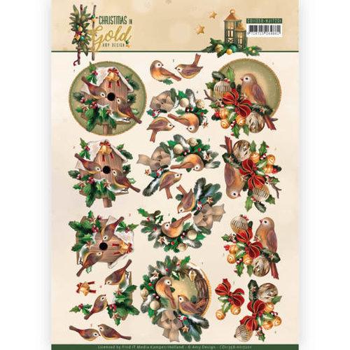 Amy Design CD11358-HJ17201 - 10 stuks knipvellen - Amy Design - Christmas in Gold - Birds in Gold