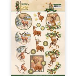 CD11359 - 10 stuks knipvellen - Amy Design - Christmas in Gold - Deers in Gold