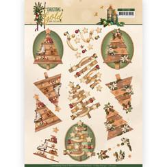 CD11360 - 10 stuks knipvellen - Amy Design - Christmas in Gold - Trees in Gold