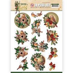 SB10370 - 3D Uitdrukvel - Amy Design - Christmas in Gold - Birds in Gold