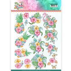 CD11331 - 10 stuks knipvellen - Yvonne Creations - Tropical Flowers