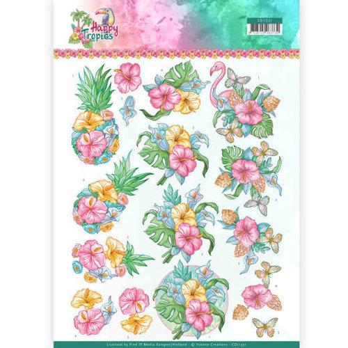 Yvonne Creations CD11331 - 10 stuks knipvellen - Yvonne Creations - Tropical Flowers