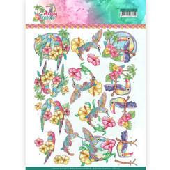CD11333 - 10 stuks knipvellen - Yvonne Creations - Exotic Birds