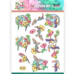 SB10364 - 3D Uitdrukvel - Yvonne Creations - Happy Tropics - Exotic Birds