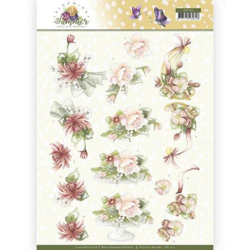 Precious Marieke CD11311 - 10 stuks knipvellen - Precious Marieke - Blooming Summer - Sweet Summer Flowers