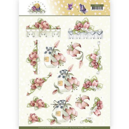 Precious Marieke CD11312 - 10 stuks knipvellen - Precious Marieke - Blooming Summer - Red Summer Flowers
