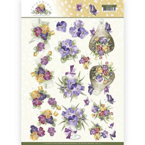 Precious Marieke CD11313 - 10 stuks knipvellen - Precious Marieke - Blooming Summer - Summer Pansies