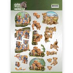 CD11302 - 10 stuks knipvellen - Amy Design - Wild Animals - Twins