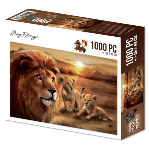 Amy Design ADPZ1002 - Puzzel 1000 pc - Amy Design - Wild Animals - Lion with cubs