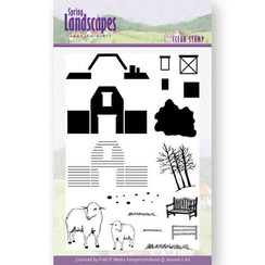 JACS10025 - Stempel - Jeanines Art- Spring Landscapes Farm
